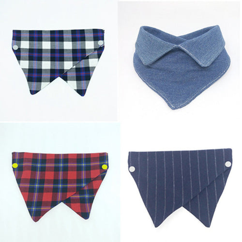 Reversible cotton Dog bandana Puppy Small Medium Large navy striped red plaid  Christmas Gift