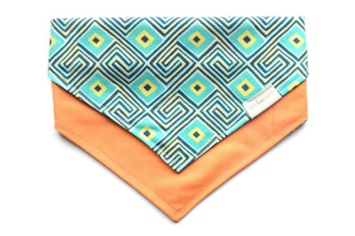 Geometric Large Reversible Dog Bandana - Tie On Bandana