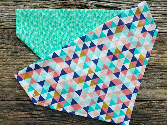 Dog bandana geometric and mint green triangles reversible over the collar