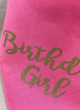 Dog Birthday Bandana Pet Collar - Pink and Gold