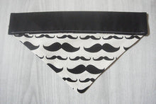 Black and White Over the Collar Mustache Pet Bandana