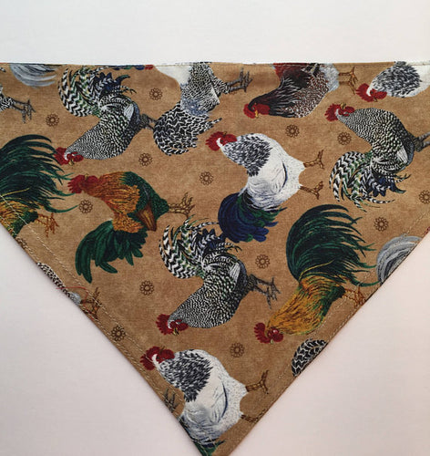Country Hen Pattern Dog Bandana -  100% Cotton