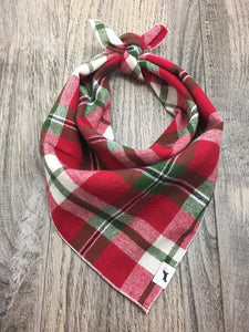Red & Green Holiday Flannel Dog Bandana