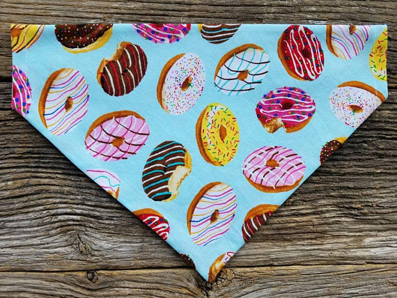 Donut Dog bandana geometric and donuts slide over the collar reversible