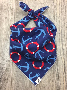 Nautical Theme Anchor Dog Bandana