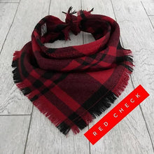 Frayed Red Check Puppy Dog Bandana Tie on Scarf