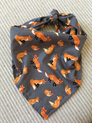 Handmade 25 inch Orange and Gray Fox Dog Bandana