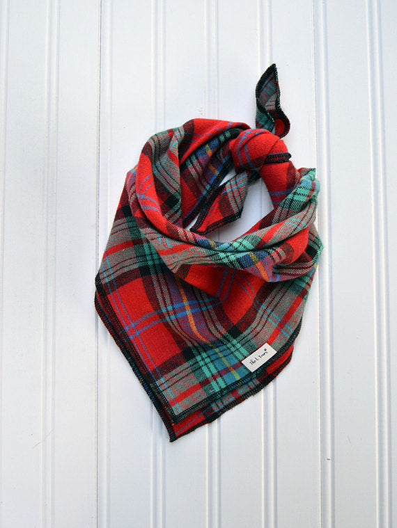 Red & Black Plaid Dog Bandana Tie On Bandana