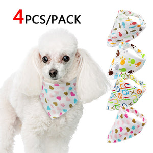 4pcs Dog Bandana Cotton Scarf Collar for Poodle