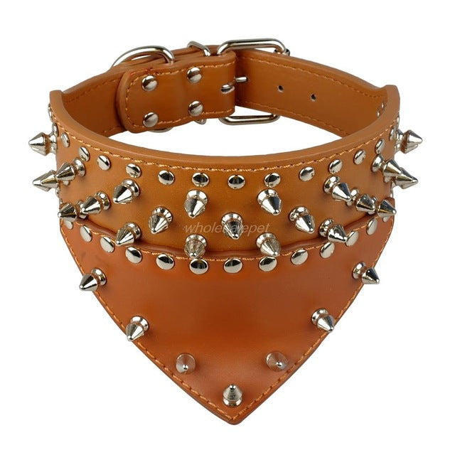 Leather Dog Bandana Spiked Dog Collar For Medium Large Pet Pitbull Mastiff