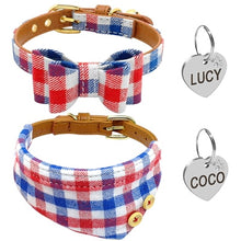 Puppy Dog Collar Bandana Soft Cotton PU Leather Plaid Bowknot Collars With Engraved ID Tag & Bell
