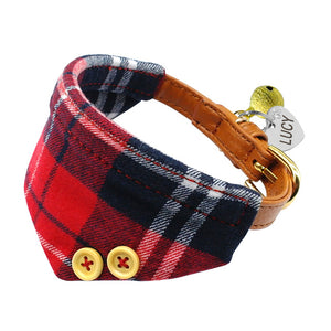 Personalized Puppy Dog Collar Plaid Bandana Engraved Pet ID Free Bell For Small Dogs Chihuahua