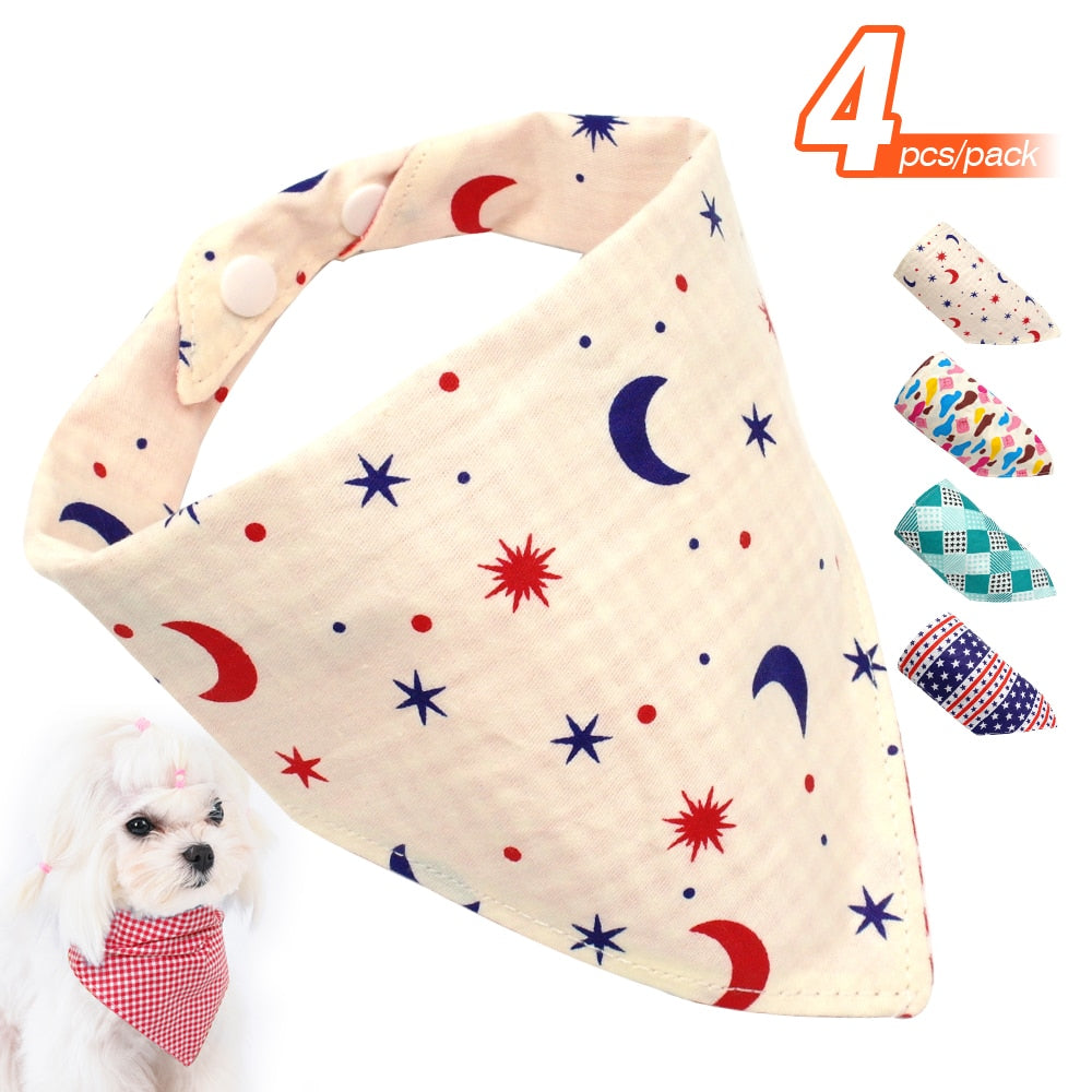 4pcs Chihuahua Dog Bandana Collar Double Side for Puppy Bull Terrier