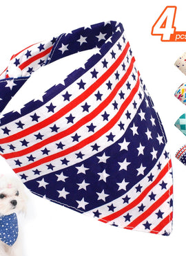 4pcs Cotton Dog Bandana Collar Scarf Adjustable For Small Dogs
