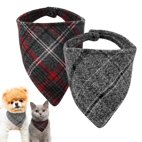 Dog Bandana Adjustable Puppy Dog Collar Plaid Scarf