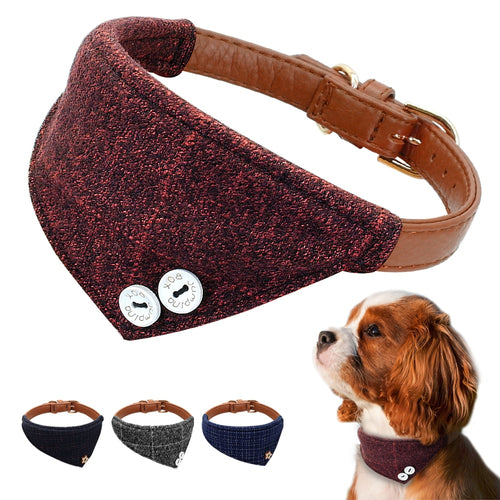 Adjustable Leather Plaid Bandana Collar For Small Medium Dogs Chihuahua