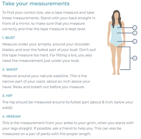 Women how to take measurements