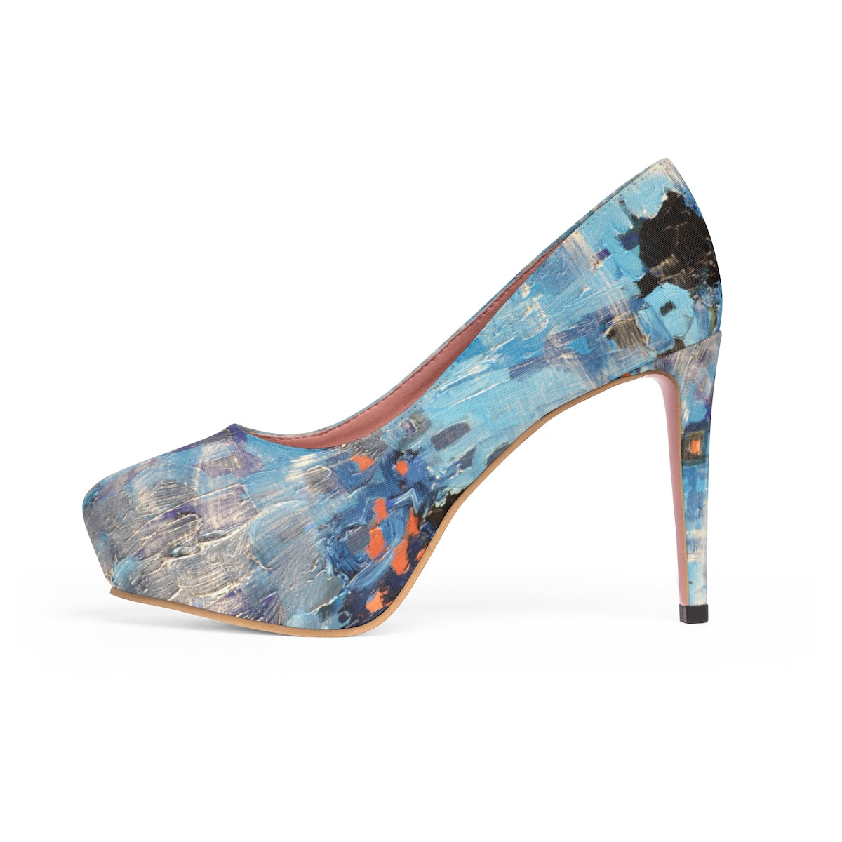Blue Abstract Platform Heels