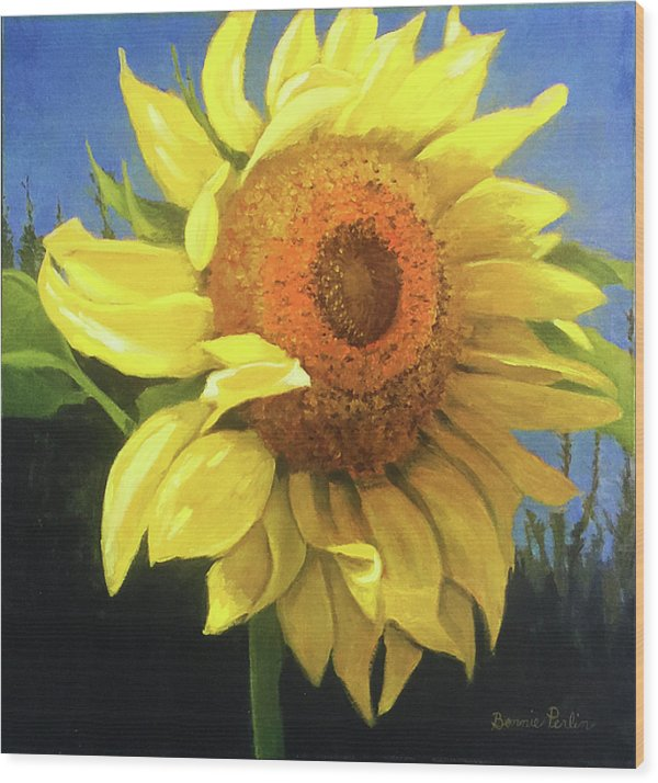 First Sunflower - Wood Print