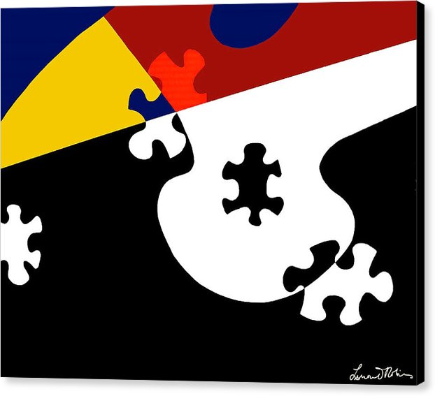 Puzzle Black And White - Canvas Print