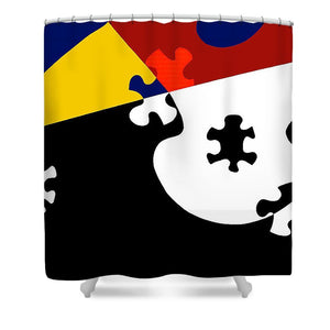 Puzzle Black And White - Shower Curtain
