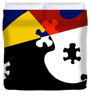 Puzzle Black And White - Duvet Cover