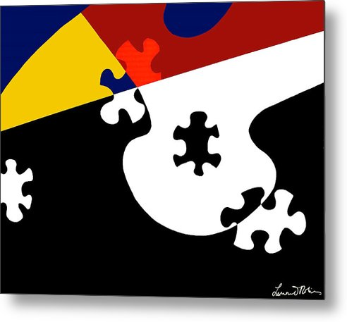 Puzzle Black And White - Metal Print