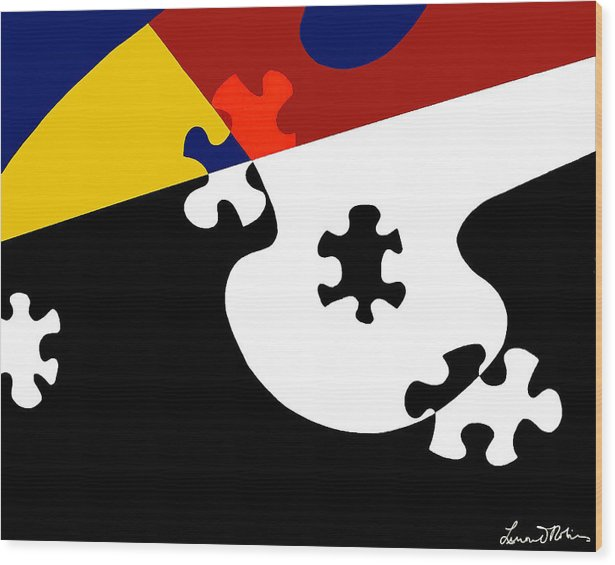 Puzzle Black And White - Wood Print