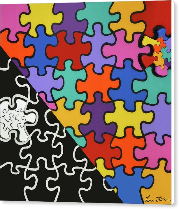 Puzzle Colors With Black And White - Canvas Print