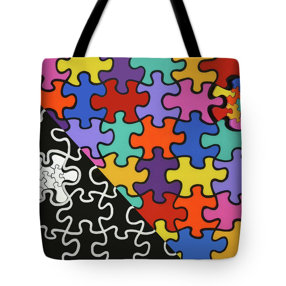 Puzzle Colors With Black And White - Tote Bag
