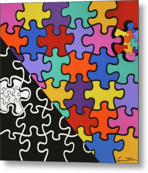 Puzzle Colors With Black And White - Metal Print