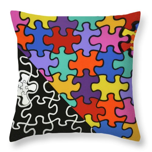 Puzzle Colors With Black And White - Throw Pillow
