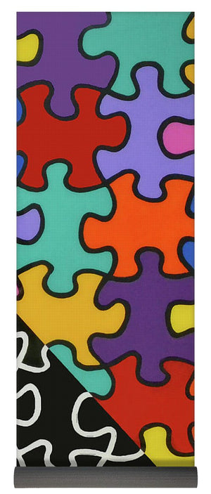 Puzzle Colors With Black And White - Yoga Mat