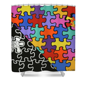 Puzzle Colors With Black And White - Shower Curtain