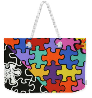 Puzzle Colors With Black And White - Weekender Tote Bag
