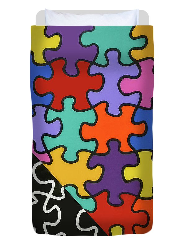 Puzzle Colors With Black And White - Duvet Cover