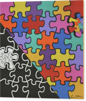 Puzzle Colors With Black And White - Wood Print