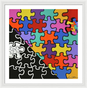 Puzzle Colors With Black And White - Framed Print