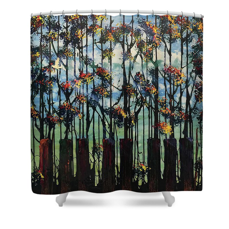 Skyline Pigeon - Shower Curtain