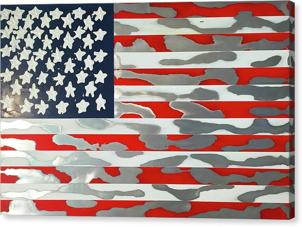 U.s. Flag Ripped - Canvas Print