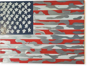 U.s. Flag Ripped - Wood Print