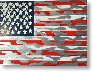 U.s. Flag Ripped - Metal Print