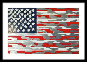 U.s. Flag Ripped - Framed Print