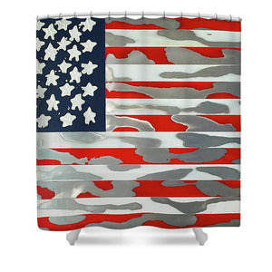 U.s. Flag Ripped - Shower Curtain