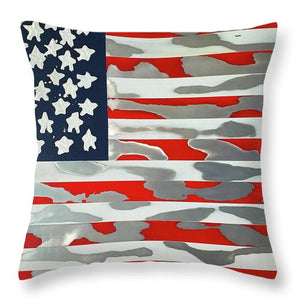 U.s. Flag Ripped - Throw Pillow