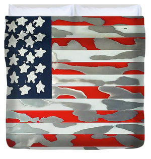 U.s. Flag Ripped - Duvet Cover