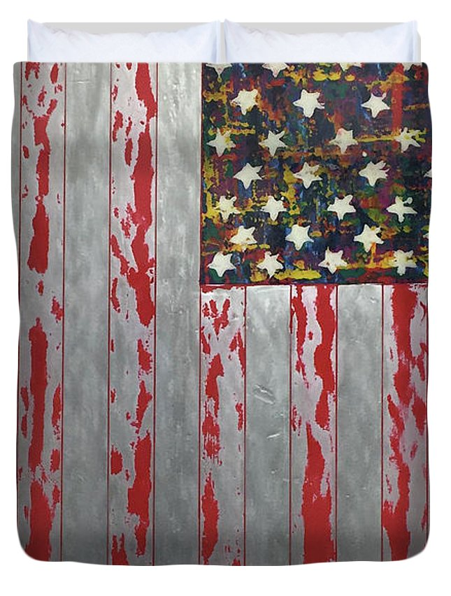 U.s. Flag Vertical - Duvet Cover