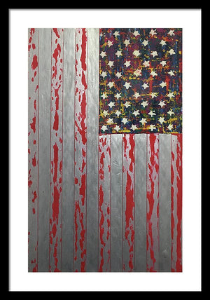 U.s. Flag Vertical - Framed Print