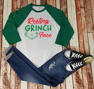 Resting Grinch Face - Baseball Tee