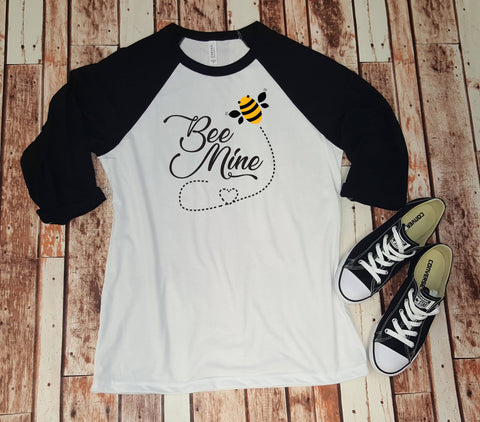 Bee Mine Valentine Baseball Tee, Valentine's Day Shirt
